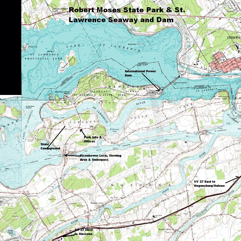 Robert Moses State Park and St Lawrence Seaway/Dam/River Topographic Map