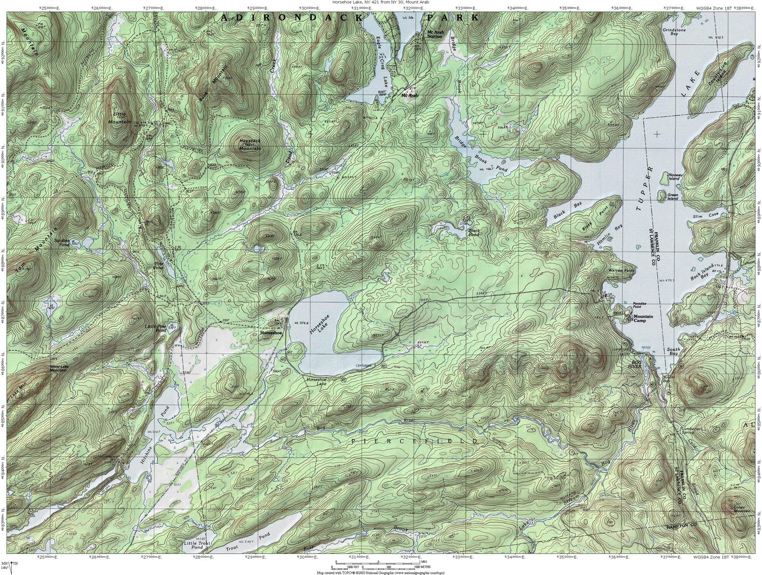 NY Route  The Adirondack Trail Horseshoe Lake  Mount Arab - Nyc map topographic