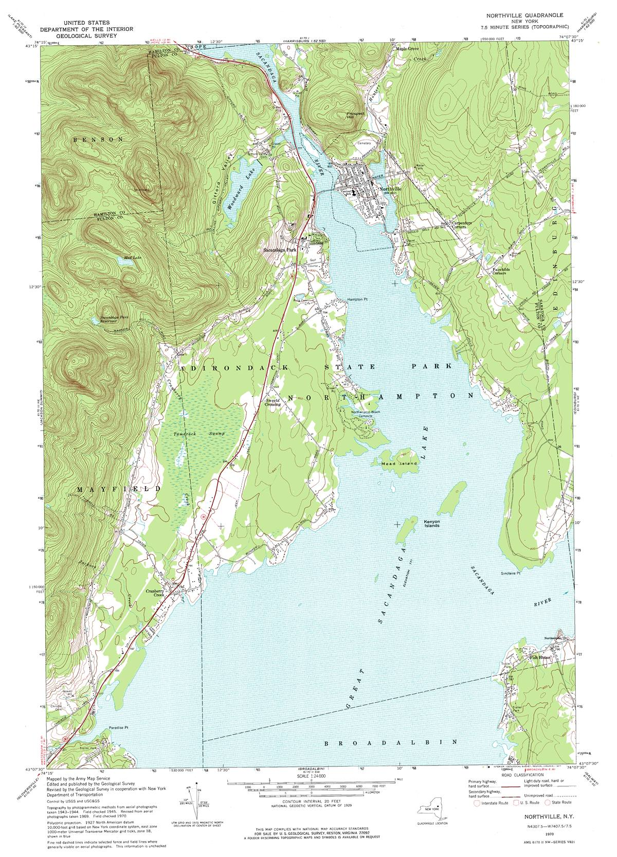 Topographic Map New York State.Ny Route 30 The Adirondack Trail Northville Great Sacandaga Lake