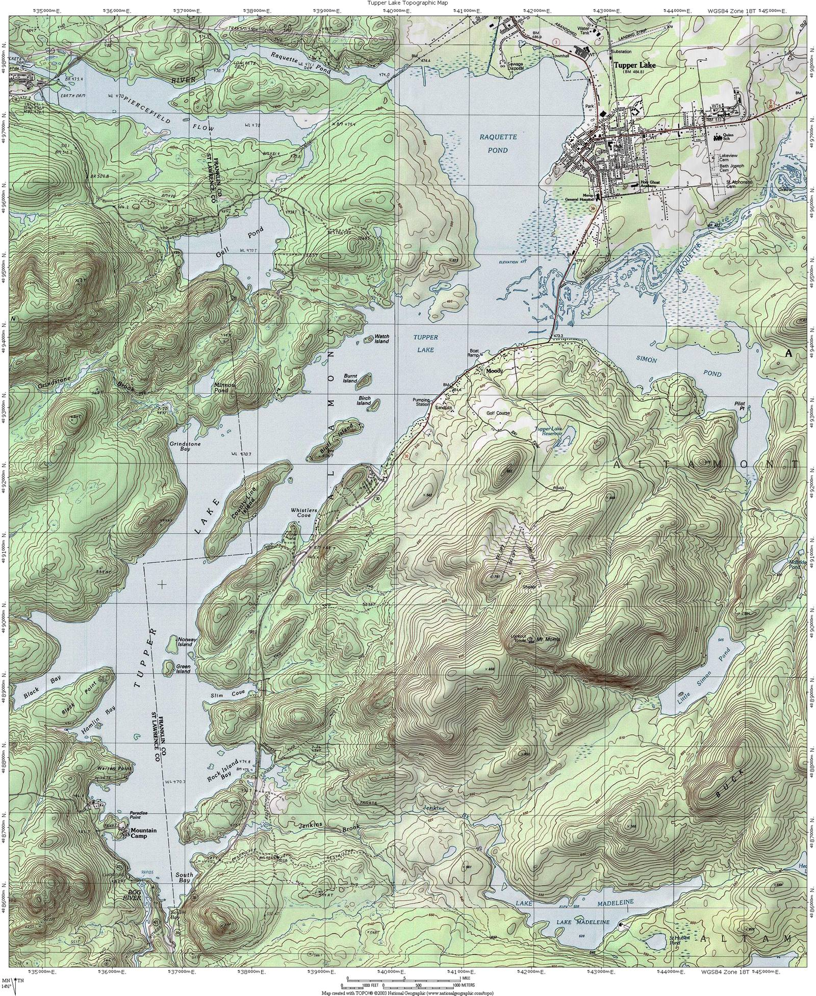 Tupper Lake Topographic Map