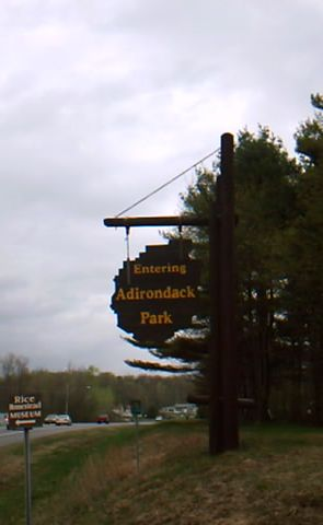 Adk Parks Sign on NY 30 North on Village Line