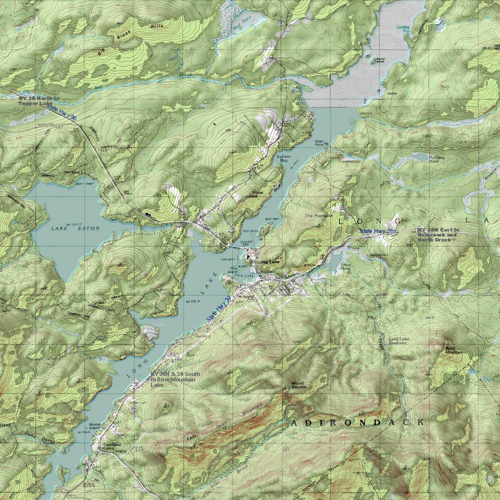 NY Route 30: The Adirondack Trail: Long Lake Topographic Map