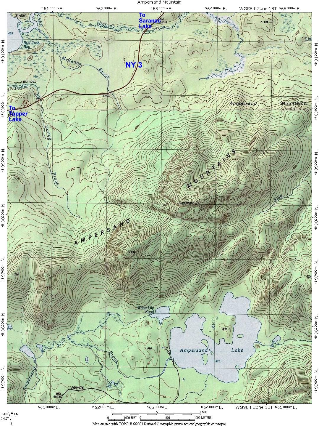 Ny Route 30  The Adirondack Trail  Ampersand Mountain Topographic Map