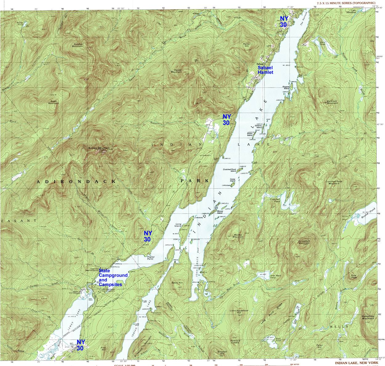 NY Route 30: The Adirondack Trail: Indian Lake, Sabael Area ... on fontainebleau state park campsite map, pontiac lake recreation area campground map, pinckney recreation area campground map, holly recreation area campground map, indian lake ohio map, smith mountain lake state park campground map,